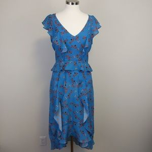 Parker Floral V-Neck Ruffled Midi Dress Blue Sz M